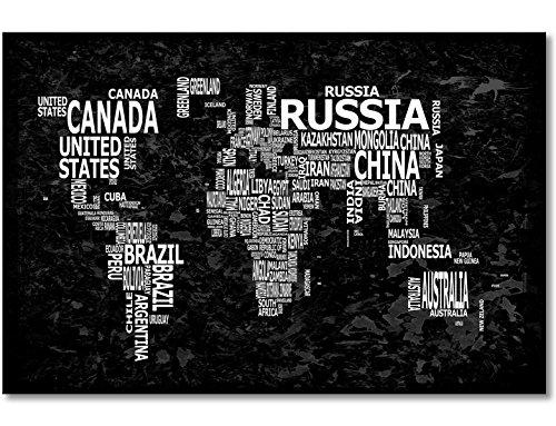 """WandbilderXXL® Gedrucktes Leinwandbild""""Weltkarte Nr.12"""" 120x80cm - in 6 verschiedenen Größen. Fertig gespannt auf Holzkeilrahmen. Günstige Leinwanddrucke für Kinderzimmer Schlafzimmer."""
