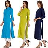 Khushi Fashion Women's Cotton Embroidered Regular Printed Kurti Combo Pack of 3 (Multi-Coloured) (XL)