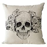 Nunubee Kissenbezug Punk Halloween Festival Love the skulls cushion Party Couch als Deko, 45*45cm