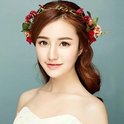 & Crown Blumenkopfschmuck Blumen-Kranz, Stirnband-Blumen-Girlande-handgemachtes Hochzeits-Braut-Partei-Band-Stirnband Wristband Hairband -red Blumenkranz Krone ( Farbe : Rot ) (Band Form Kranz)
