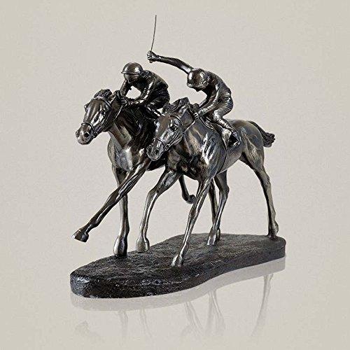 CZ-wyf Zwei Jockeys Pferderennen Cold Cast Bronze Figur Figur Statuen Pferderennen Schrank Dekoration Harz Figur Dekorationen Schlafzimmer Heimtextilien Veranda Handwerk / 11,8 x 5,1 x 10 Zoll -