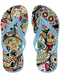 Lplpol - Zapatillas de Playa Unisex con Diseño de Calaveras Florales para Niños ...