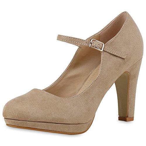 SCARPE VITA Damen Pumps Mary Janes Blockabsatz High Heels T-Strap 160320 Creme Velours (Creme Tanz Kostüm)