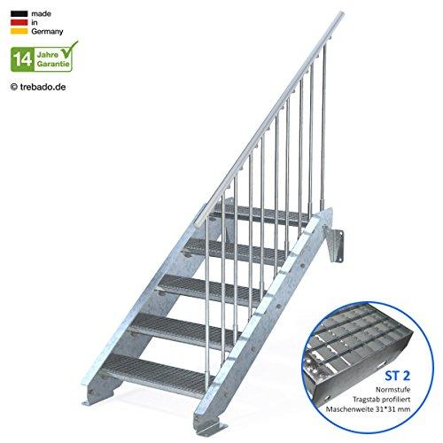 Außentreppe 5 Stufen 70 cm Laufbreite – einseitiges Geländer rechts - Anstellhöhe variabel von 83 cm bis 100 cm - Gitterroststufe ST2 - feuerverzinkte Stahltreppe mit 700 mm Stufenlänge als montagefertiger Bausatz