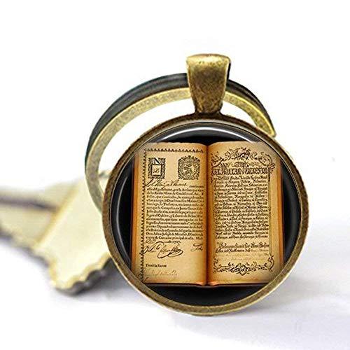 Llavero de libro abierto antiguo, llavero de regalo para escritor, regalo para lector - joyería de libro vintage - llavero de páginas de libro - la vida es un llavero abierto