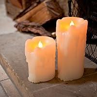 Lights4fun 2er Set LED Echtwachs Kerzen mit Wachstropfen mit Timer