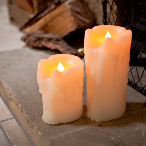 2er Set LED Echtwachs Kerzen mit Wachstropfen mit Timer Lights4fun (Halloween-led-kerzen)