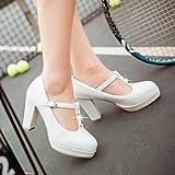 BBSLT-T-Correa Impermeable 9Cm Los Zapatos De Tacón Alto Single Grueso Con La Edición Coreana Salvaje Inglaterra Retro Durante La Primavera Y El Otoño 34 Zapatos Blancos