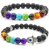 2 unids Pulsera de Piedra de Lava Natural 7 Chakras Bead Reiki Healing Bracelet para Mujer Hombre Yoga Meditación Stretch Pulsera