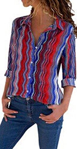 GJKK Bluse Damen Casual Cuffed Langarm V-Ausschnitt Button Up Gestreiftes Hemd Bluse Tops Damen Herbst Langarmshirt Oberteil Hemd Tunika