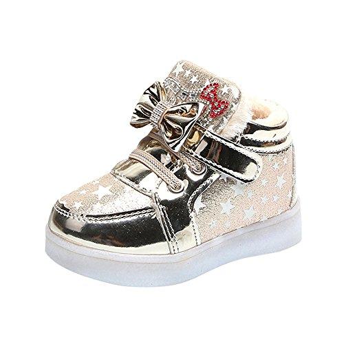 Fenverk Kinder Kind Star Bowknot Crystal Mesh LED Licht Leuchtend Turnschuhe Schuhe Baby Warm Winter Kleinkind BeiläUfig Mode Atmungsaktiv Stiefel(Gold-Baumwolle,27 EU)