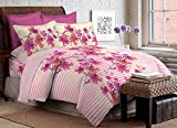 Bombay Dyeing Foliage 130 TC Polycotton Double Bedsheet with 2 Pillow Covers - Pink