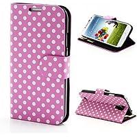 Handytasche Business Case Cover Samsung Galaxy S4 Stand BOOK Etui Flip pink/rosa weiß gepunktet 60-er Jahre GT-I9505 / GT-I9500, Galaxy S4 LTE+ / GT-I9506