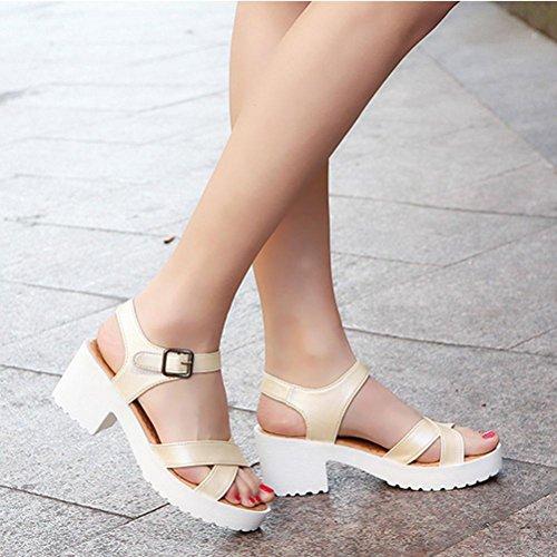 Amlaiworld Estate sandali ruvido open toe pesce bocca tacco alto scarpe Beige
