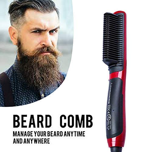 Peine alisador de barba eléctrico profesional para hombres - Cepillo 2 en 1 alisador y rizador para diferentes tipos de barba - tecnología de calefacción iónica antiquemaduras - color rojo