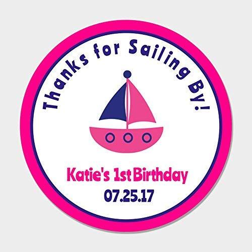 Sandy66Twain Personalisierbare Aufkleber mit Aufschrift Thank for Sailing by Birthday, Segelboot, Party-Geschenketiketten, für Mädchen, nautisches Design, Rosa/Blau (Party Nautische Favors)