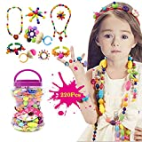 BigNoseDeer Kids Pop Snap Beads Set 220pcs Jewelry art Pop Beads DIY Kit Bracelet necklace ring Educational Toys(No hair hoop)