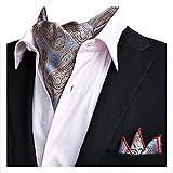 YCHENG Herren Krawattenschal Paisley Gewebtem Jacquard Krawatte Taschentuch Ascot Set Blau XLJ-19