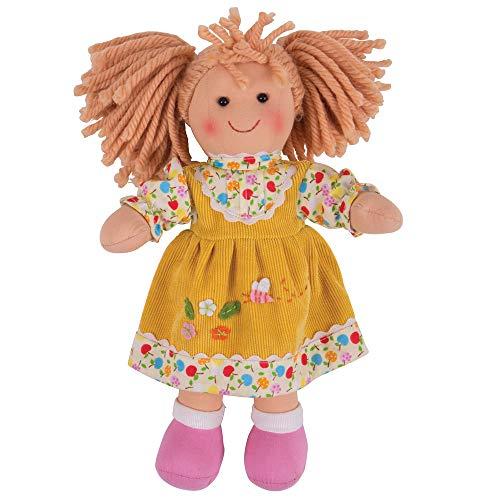 Bigjigs Toys-Daisy muñeca Peluche Suave Cuerpo con Pelo y Traje, 11