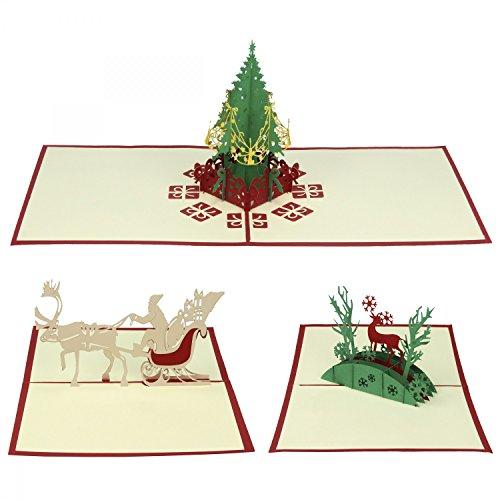 Elegante Weihnachtskarte im 3er-Set von Urhome® I Nikolaus-Rentier-Weihnachtsbaum I 3D Pop-Up Klapp-Karte I aufwendige Handarbeit - sehr edel I Weihanchtsdeko - christliche Motive I mit Umschlag