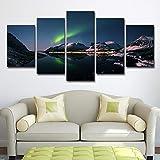 DOORWD Leinwanddruck Wandbilder Home Dekorativ 5-teilig Großplakat Landschaft unter dem Nachthimmel 30x40cmx2 30x60cmx2 30x80cmx1 Kein Rahmen