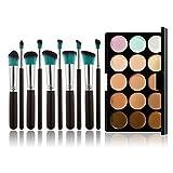 Chinatera 15 Farben Make-up Concealer Creme Kosmetik Palette +10ST Pinsel (Schwarz-Silber + Blau)