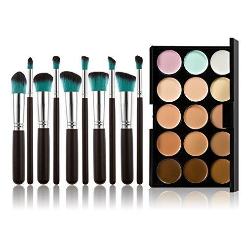 Chinatera 15 couleurs Pro Maquillage Outil Correcteur Crème Cosmétique Palette + 10pcs Brosse (argent noir + bleu)