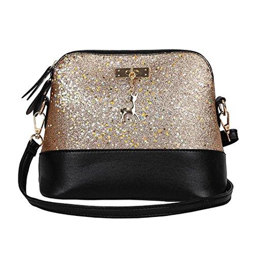Handtasche Damen Btruely Mädchen Messenger Crossbody Vintage Tasche Damen Kleines Shell Leder Handtasche (T Gold)