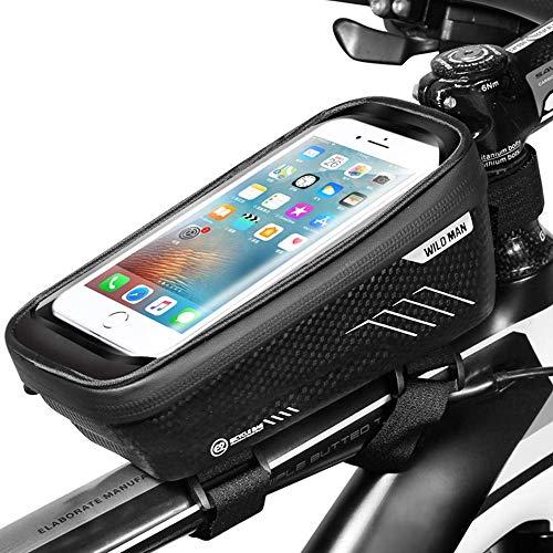 BAONUOR Fahrrad Lenkertaschen Fahrrad Handytasche Wasserdicht mit TPU Touchscreen Fahrradtasche Rahmentasche Fahrrad Oberrohrtasche für iPhone 8 Plus/X/XS Max/XR/Samsung S8 Plus/S9 Handy