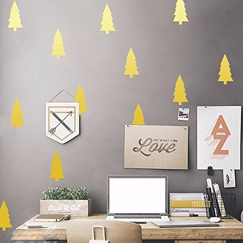 BB.er Wand Aufkleber Kinderzimmer Büro Kiefern können dekorative Aufkleber entfernen, 4 * 8 cm * 18 pcs, gold (Kiefern-aufkleber)