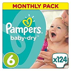 Pampers Baby-Dry Nappies Monthly Saving Pack - Size 6, Pack of 124