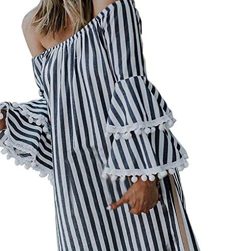 Magiyard Off hombro Strapless Cuello de impresión Imprimir Beach Party Vestido (S, Negro)
