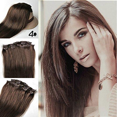 Romantic Angels® Clip In/On Extensions de cheveux humains 10 Pieces Set 120g - 50cm Couleur:brun moyen#4