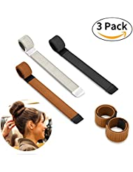 Bestidy 3PCS Perruque de cheveux Bun Disk Maker Donut Hair Piece Bob Maker Outil cheveux Light Golden Black