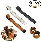 Bestidy 3PCS Perruque de cheveux Bun Disk Maker Donut Hair Piece Bob Maker Outil cheveux Light Golden Black