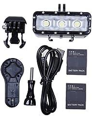 Jeerui Zubehör für GoPro Tauchleuchte, Wasserdicht, LED Video-Beleuchtung und Klemmhalterung für GoPro Session / Hero 4/3+/3/Xiaomi, mit Akkus, schwarz