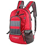 ECEEN Solar Powered Hiking Daypacks with 3.25 Watts Solar Charger for Hiking, Travel, Backpacking, Biking, Camping - Folds Up into Carry Pouch - Power for Smart Cell Phones and More (Red)