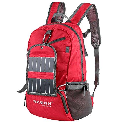 Mochila de senderismo que funciona con energía solar, con cargador solar de 3,25 W, para  senderismo, viajes, viajes de mochilero, ciclismo, cámping – Se pliega y se convierte en una  bolsa de transporte – Energía para teléfonos móviles inteligentes y más, rosso