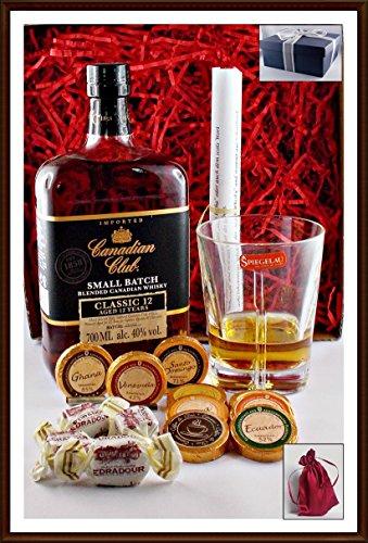 Geschenk Set Canadian Club 12 Jahre mit 9 DreiMeister Edel Schokoladen, 4 Edradour Whisky Fudge, 1 Whisky Glas, kostenloser Versand Schokolade Kanada