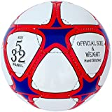 Training & Match Leather Football-Soccer Ball, Size 5, 32 PanelS, Red-White-Blue
