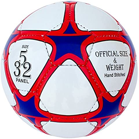 Training & Match Leather Football-Soccer Ball, Size 5, 32 PanelS, Red-White-Blue by StarliteSports