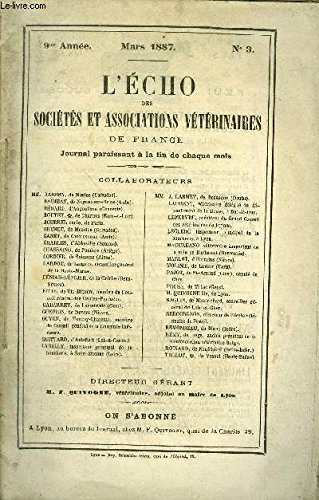 L'ECHO DES SOCIETES ET ASSOCIATIONS VETERINAIRES Mars 1887