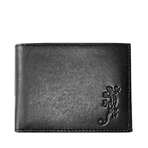 Oxmox Kollektion Leather Pocketbörse Lizard Schwarz (Lizard Geldbörse)