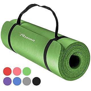 Reehut 12mm NBR Yogamatte, Gymnastikmatte + Tragegurt Extra-Dick Rutschfest Phthalatenfrei Unisex Fitness Matte für Yoga Pilates Fitness Gymnastik, 181 x 61 cm
