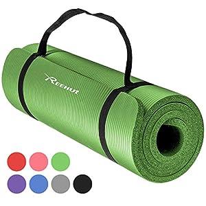 REEHUT 12mm NBR Yogamatte, Gymnastikmatte + Tragegurt Extra-Dick Rutschfest...