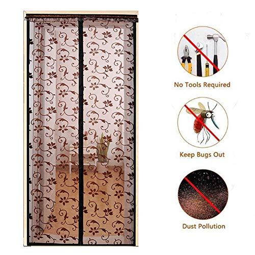 YHEGV Magnetic Screen Door, High Density Fly Bug Mosquito Mesh Curtain Lets Fresh air in Automatically Shut Door Curtain-B 80x210cm(31x83inch) -