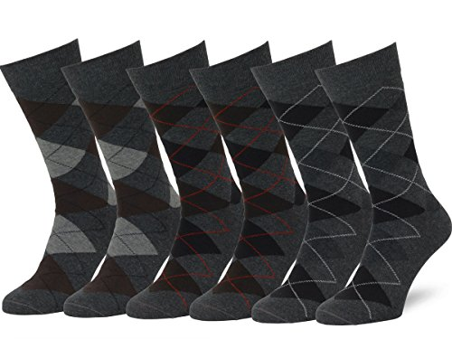 Holzkohle Grau Streifen (Easton Marlowe 6 Paar Fein Gemusterte Argyle Socken Herren - 6pk  2-11, Holzkohle Grau - 39-42 EU Schuhgröße)