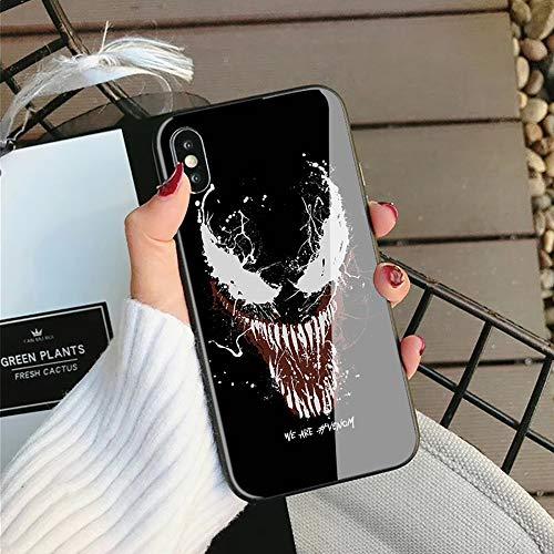 Sun Light Venom iPhone7 / 8,iPhone7plus / 8plus, iPhone X La Caja del teléfono, Marco de Silicona + Vidrio Templado Funda para telefono movil (iPhone X, 1)