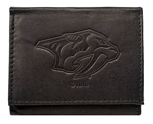 Nashville Predators NHL Embossed Logo Black Leather Trifold Wallet by Rico (Tri-fold Logo Wallet)