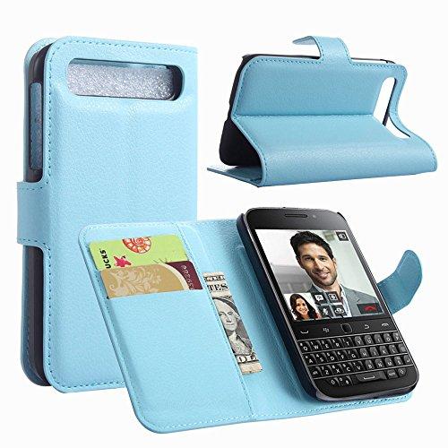 Tasche für BlackBerry Classic (Q20) Hülle, Ycloud PU Ledertasche Flip Cover Wallet Case Handyhülle mit Stand Function Credit Card Slots Bookstyle Purse Design blau